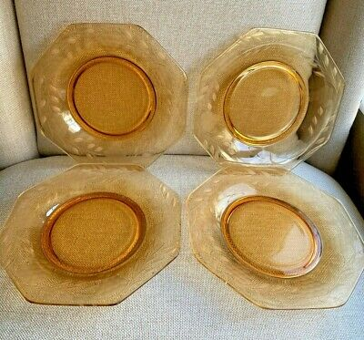 Vintage square etched glass luncheon or dessert plates set of 6