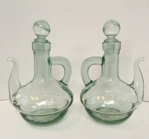 Vintage Olive Oil Glass Jar The Glass of Spain Knobler - Set of 2