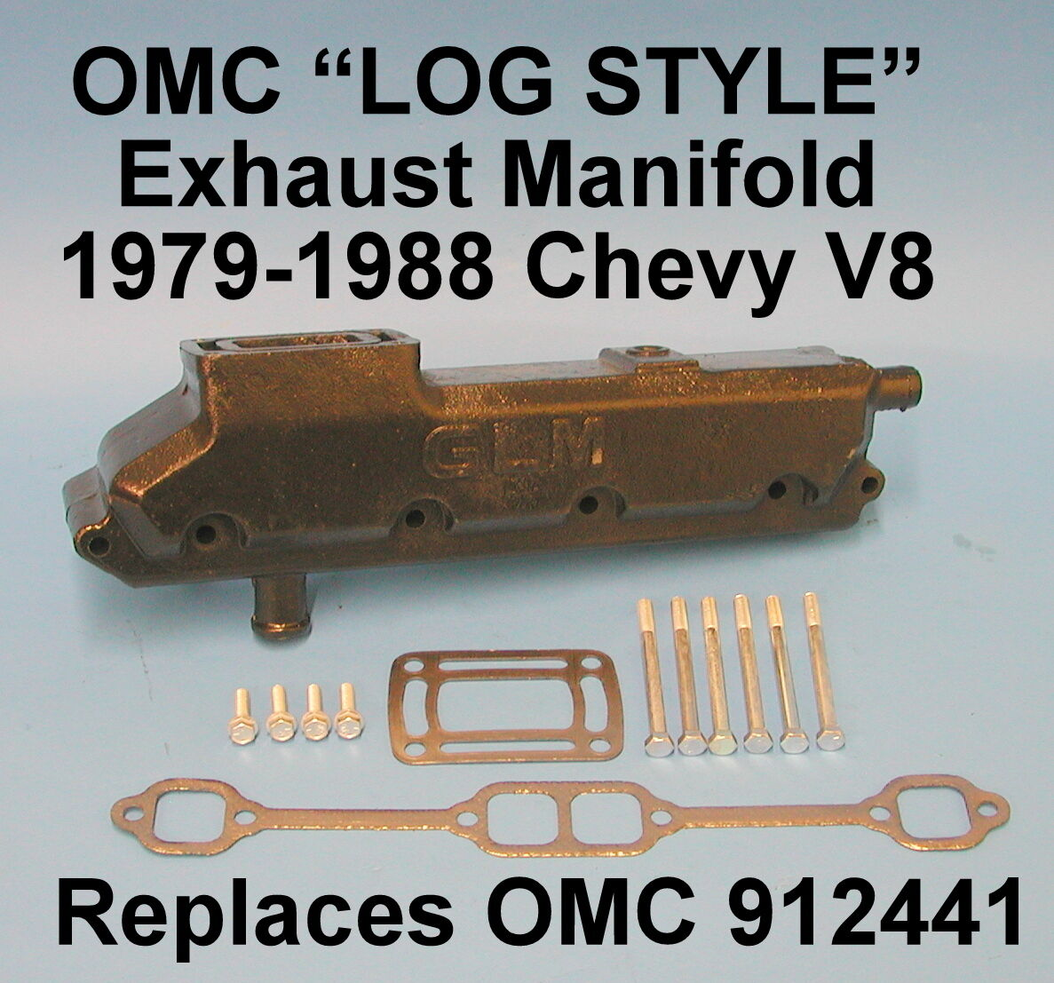 OMC CHEVY V8 305 350 LOG EXHAUST MANIFOLD 1979-1988 912441 STARBOARD REAR ELBOW
