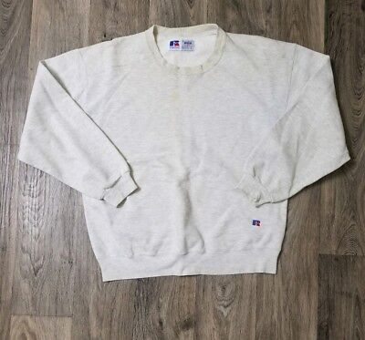 Mens Russell Athletics 100% High Cotton Gray Crewneck Sweater Size L