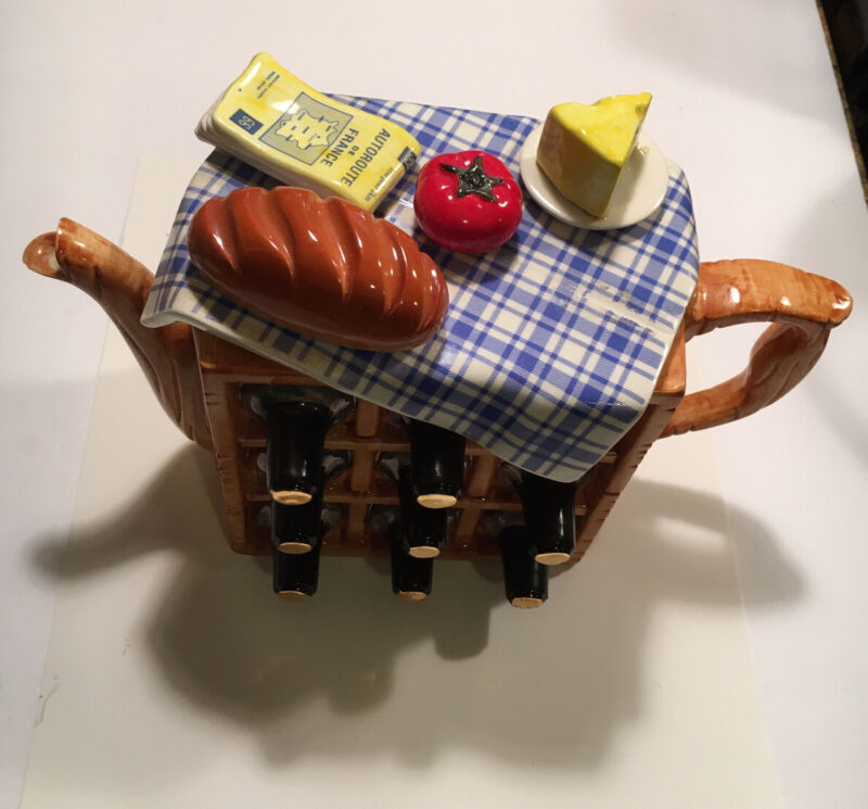 Vintage 1992 Teapot England Swineside Picnic Teapot Wine Cheese Map Bread(As Is)
