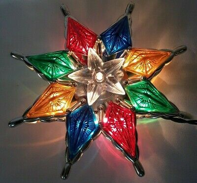 Star Christmas Tree Topper Colorful Jewel Tone Prism Light Up Electric 8""