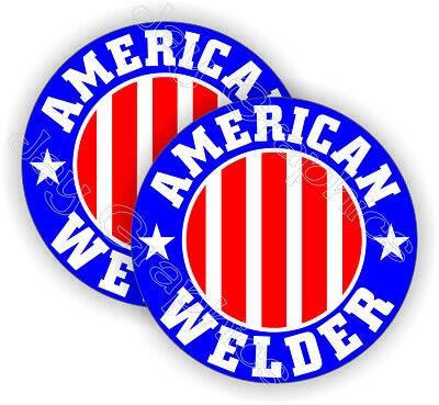 2 American Welder Hard Hat Stickers Usa Welding Funny Helmet Decals Flags Set
