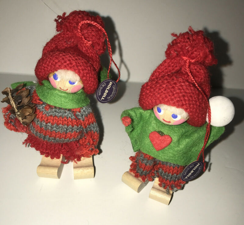 2 Vintage Holboll Wooden Christmas Ornament Handcrafted Denmark Original Tags
