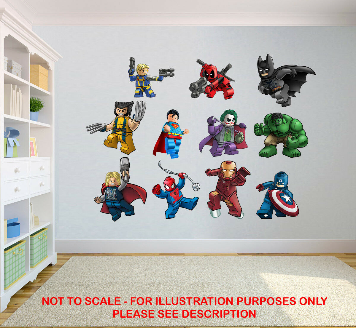 Home Decoration - LEGO MARVEL STICKERS SUPER HEROES KIDS BEDROOM VINYL DECAL WALL ART STICKER