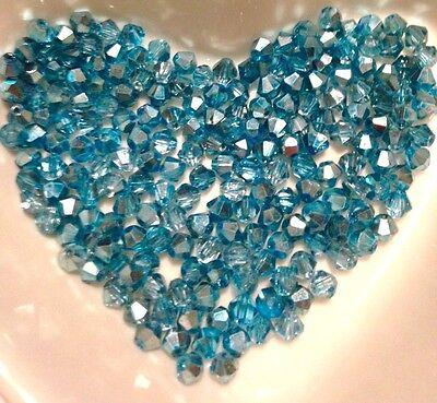 100 Austrian Crystal Glass Beads -Half Metallic Ice Blue - 4mm