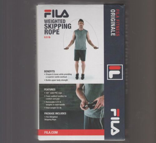 """Fila .5 Lb WEIGHTED SKIPPING ROPE 107"""" Solid PVC Jump Skip Speed"""