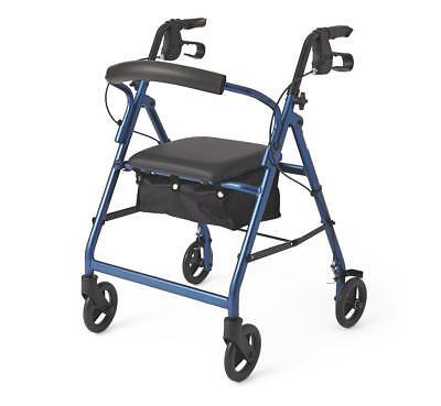 Medline Basic Aluminum Rollator with 6 Wheels, Blue