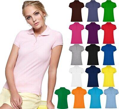 Bestickte Damen Pique Polo (Damen kurzarm Polo Shirt Basic Poloshirt bedrucken besticken geeignet Pique )