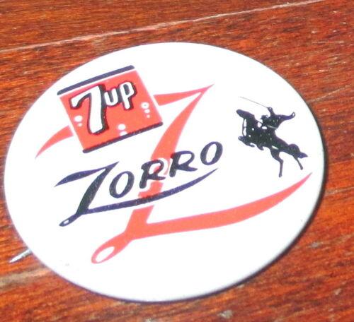 1957 WALT DISNEY & 7UP SODA ZORRO ADVERTISING PINBACK with SILHOUETTE IMAGE