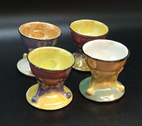 4 Vintage Seiji Luster Lustre Ware Egg Cups Iridescent Bird Mark Japan pre WWII