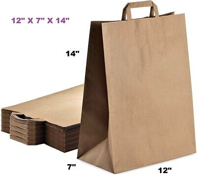 12x7x14 Brown Paper Bag Large With Flat Handle Case Of 50 Counts