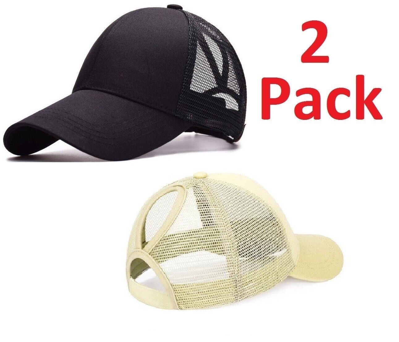 2 Pack- Ponycap Messy High Bun Ponytail Adjustable Mesh Trucker Baseball Cap Hat Clothing, Shoes & Accessories