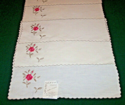 12 ANTIQUE MADEIRA ROSE EMBROIDERED LINEN PLACEMATS,TAG: Hahne & Co, NEVER USED