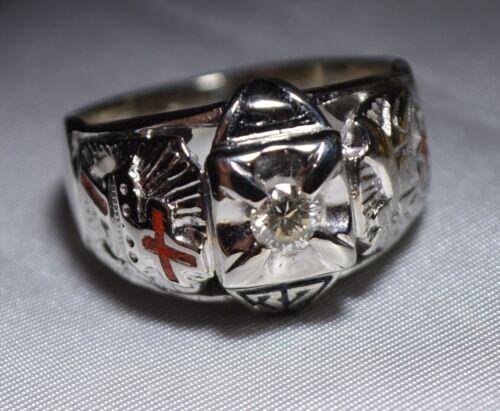 Masonic 10K WHITE Gold Ring Diamond 32nd Degree Scottish Rite Shriner Sz 11 1/2