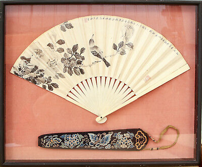 Excellent Chinese Hand Painted Fan and Qing Dynasty Textile Fan Cover, Framed.