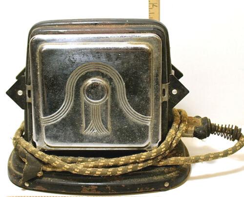 Antique Bersted Mfg Toaster #36 Two Slice Side-Loading w/Bakelite Handles & Cord