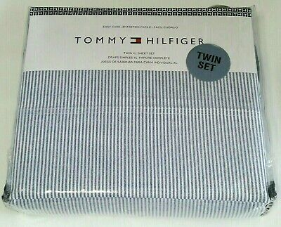Tommy Hilfiger Twin XL Sheet Set Navy Blue White Stripe Flat Fitted -