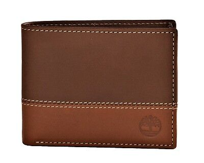 80292608689 Timberland Mens Commuter Leather Bifold Wallet Brown-Tan