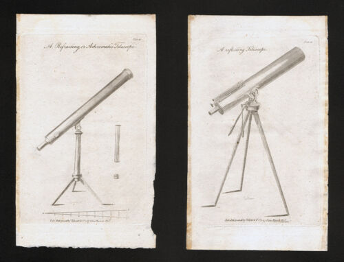 1809 Astronomy Atlas Prints x 2 Refracting & Reflecting Telescopes Sky Antique