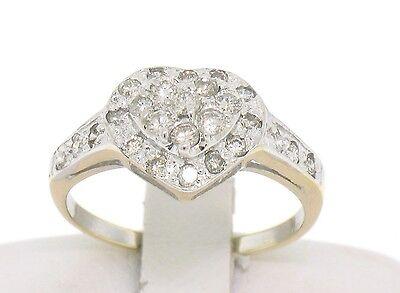 14k Two Tone Gold .60ct Pave Set Round Brilliant Cut Diamonds Heart Cluster -