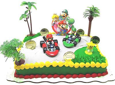 Mario Kart Birthday (MARIO BROTHERS MARIO KART Racing Themed Birthday Cake Topper Set w Mario)
