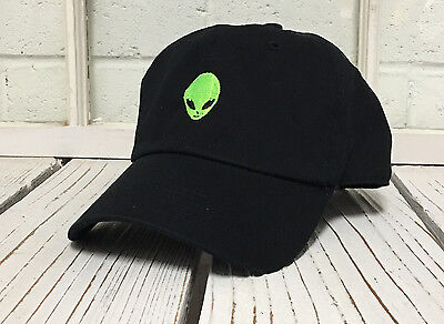 NEW ALIEN HEAD EMBROIDERED POLO BASEBALL HAT HIP HOP CAP BLACK