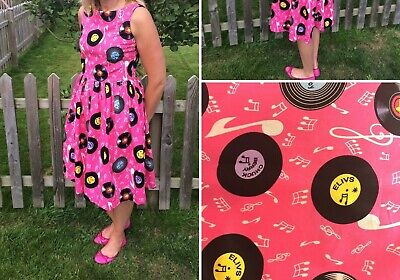 Ladies 8 -10 pink ELVIS/Chuck Berry/ Cliff records 1950's dress + diner apron