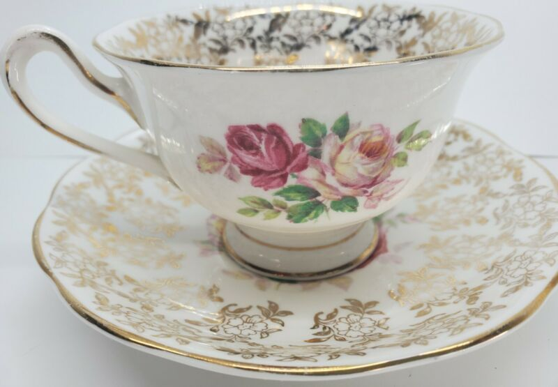 Royal Albert Pink Roses Gold Gilt Filigree Teacup and Saucer