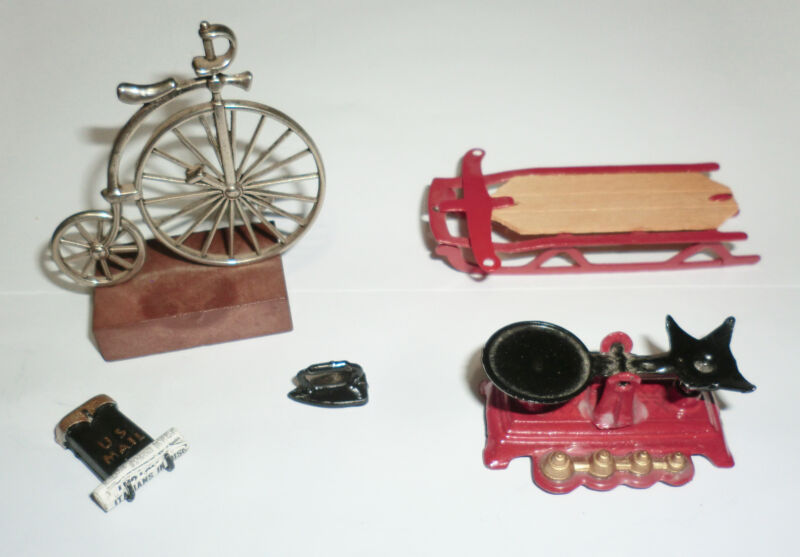 Vintage Miniature 5 PC Mix Metal Lot velocipede Penny Farthing Iron Weight Sled