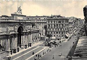 Cartolina-Postcard-Roma-Via-Nazionale-auto-d-039-epoca-anni-039-50