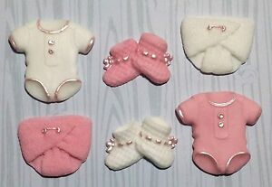 6 Pink baby girl vest nappy edible cupcake cake toppers christening shower
