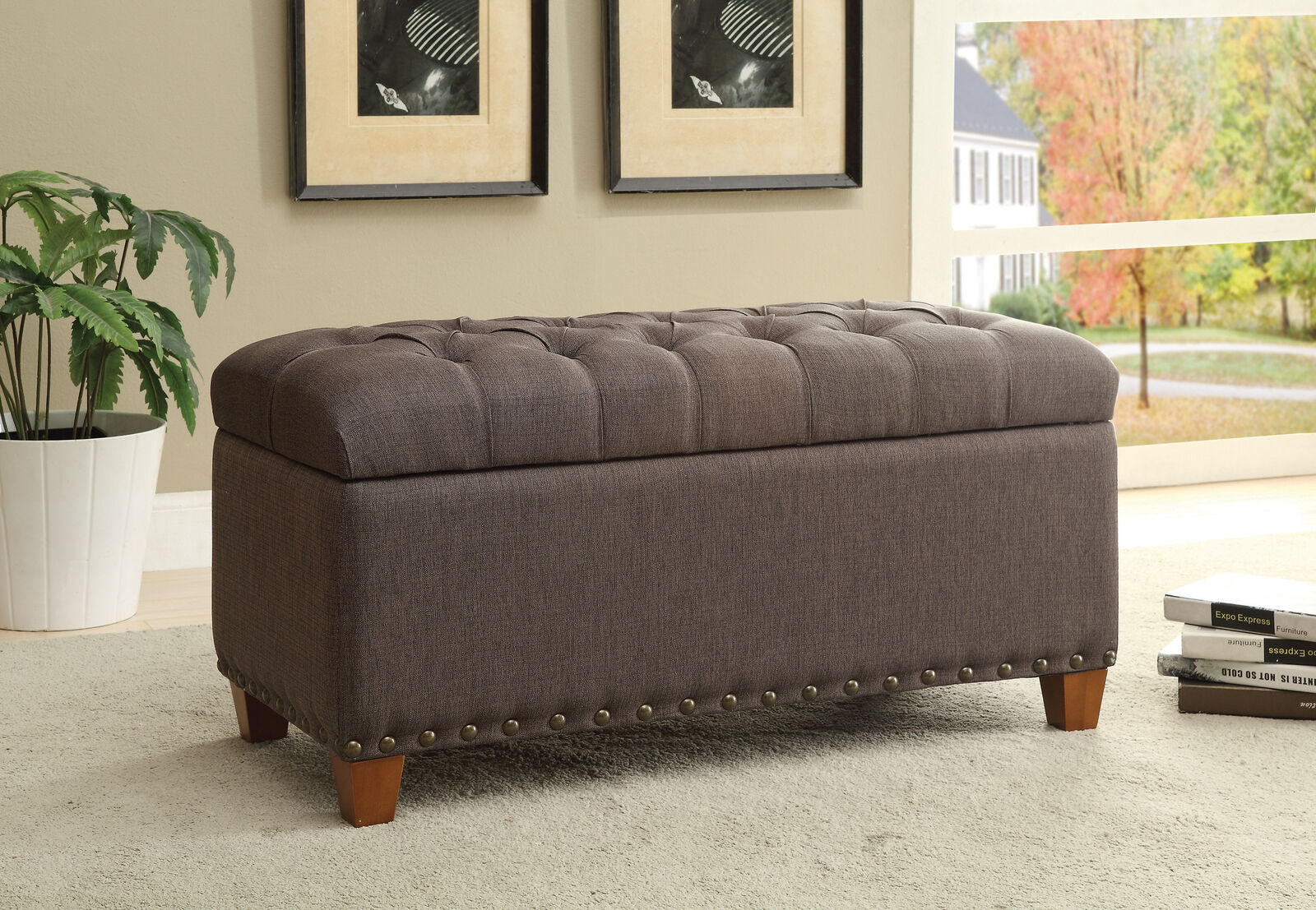 Tufted Storage Bench Ottoman in Taupe Fabric by Coaster 5000