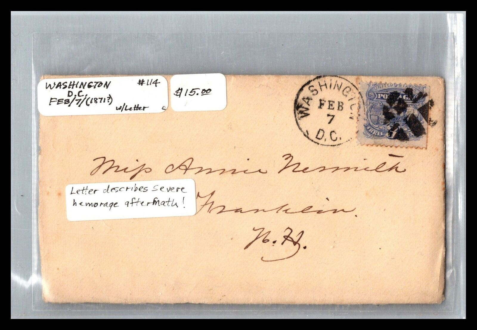 GP GOLDPATH US COVER 1871, WASHINGTON, DC. CV349 P24 - $1.00