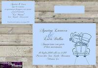 Partecipazioni Personalizzate Matrimonio Inviti Nozze Sposa Sposini Blu Serenity -  - ebay.it