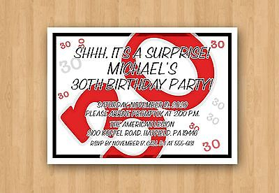 30th Adult Birthday Party Personalized Invitation Any COLOR & AGE 21st 40th 50th (50th Birthday Invitations)