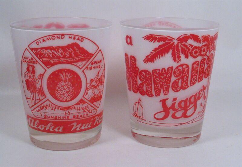 Pair glass HAWAIIAN JIGGERS. 16 oz Moss Worth, Aloha Nui Nui drink glasses.