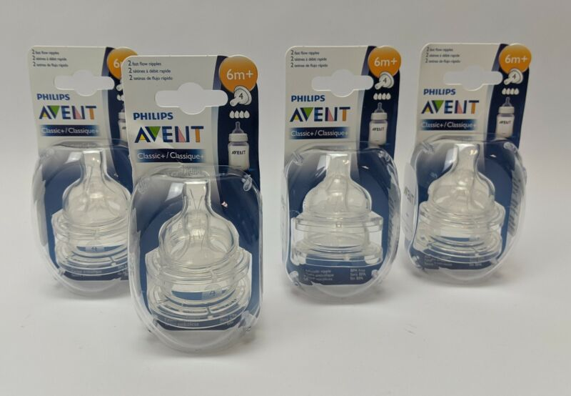 Set of 4 Philips AVENT Classic+ Pack with 2 Fast Flow Nipples 6 Months Plus