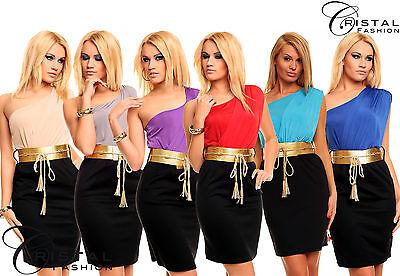 Sexy Cleopatra Gold Sommerkleid Gürtel Kleid NEU Gr. XS S M L  34 36 38 40 200-R
