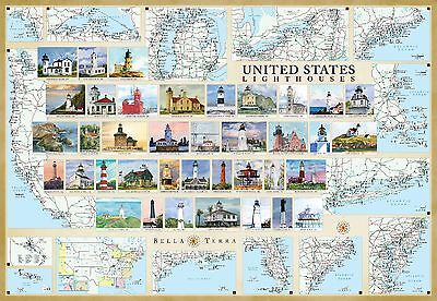 United States Lighthouses Illustrated Map Laminated Poster - No Glare 27 x39  - $16.95