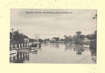 NY Riverhead LI Long Island 1908-39 vintage postcard HOMES & BOATS ON PECONIC