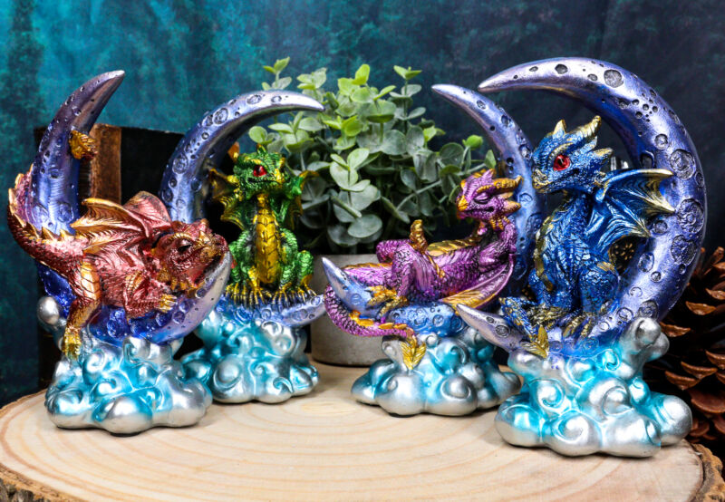 """Ebros Crescent Moon On Clouds Resting Guardian Dragon Figurines 6.25""""H Set of 4"""