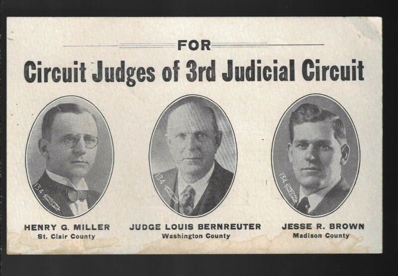 1927 Illinois 3rd Circuit Judicial Election Card GOP Miller Bernreuter & Brown
