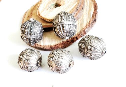 Old silver star burst granulation hallmarked Globe beads from Yemen circa 1930s