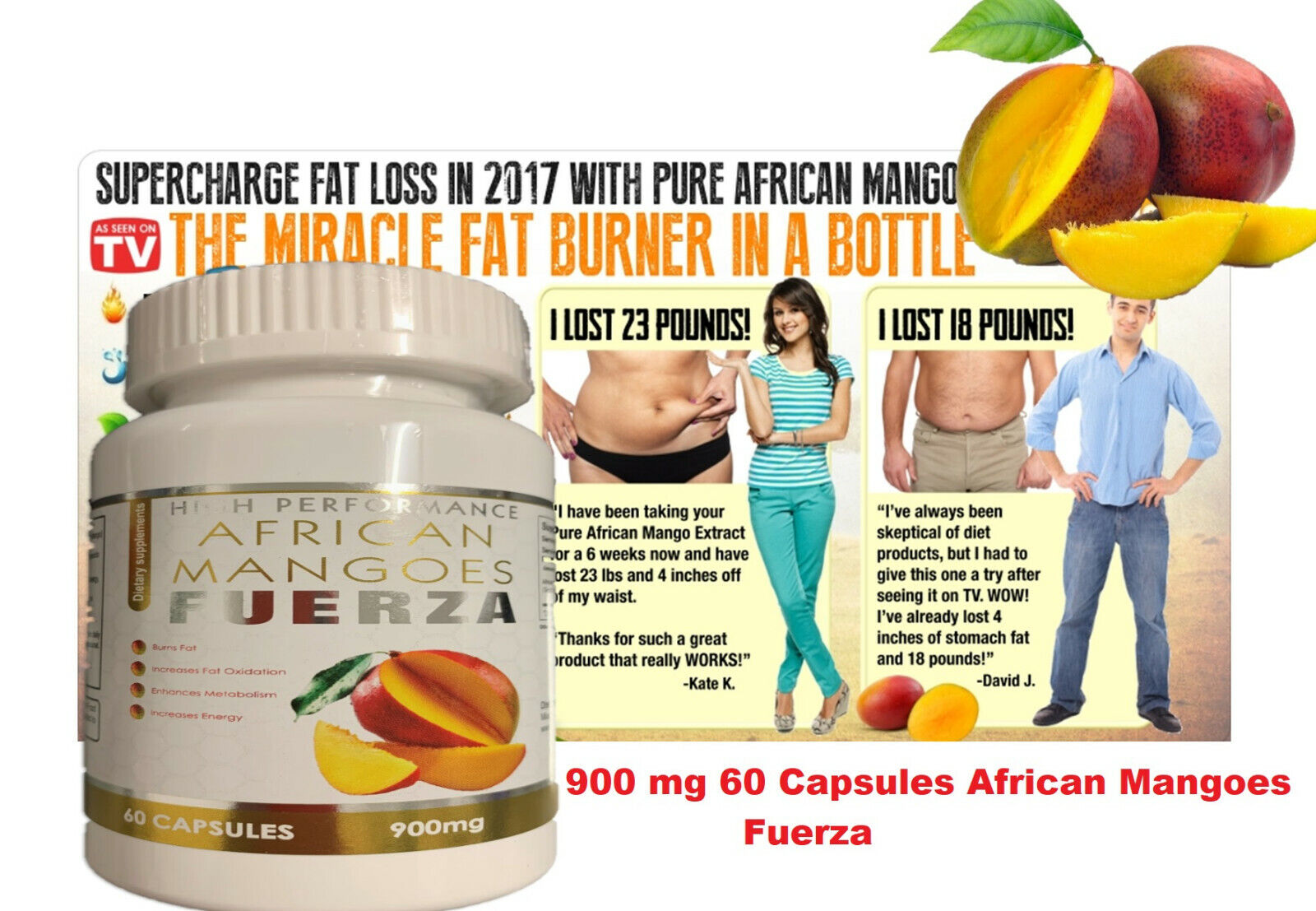 Extreme weight loss pills - PURE AFRICAN MANGO EXTRACT 900mg 1 Bottle 60 Caps 1