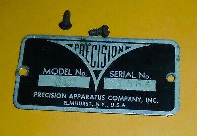 Precision Apparatus Model 612 Tube Tester Name Shield