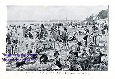 20er Jahre Badeanzug (Strandleben Berlin XL Kunstdruck 1924 Strand Bademode 20er Jahre Badeanzug )