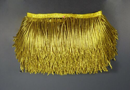 Vintage Gold Metallic Fringe Coiled Strands Bright Gold French