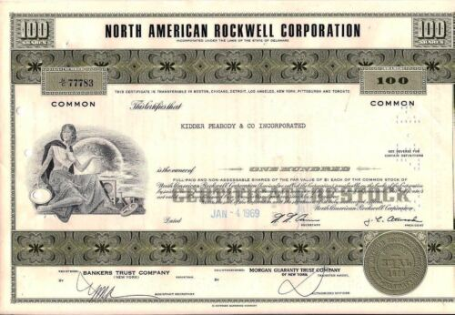 North American Rockwell Corporation stock certificate (Boeing) 100 shares