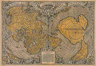 Oronce Fein Reproduktion Farbe Antik Vintage Frühzeitig Welt Wand Map Druck Neu
